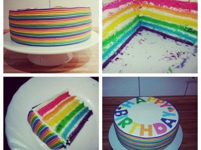 Sallys Regenbogentorte Rezept und Anleitung . Rainbowcake Recipe