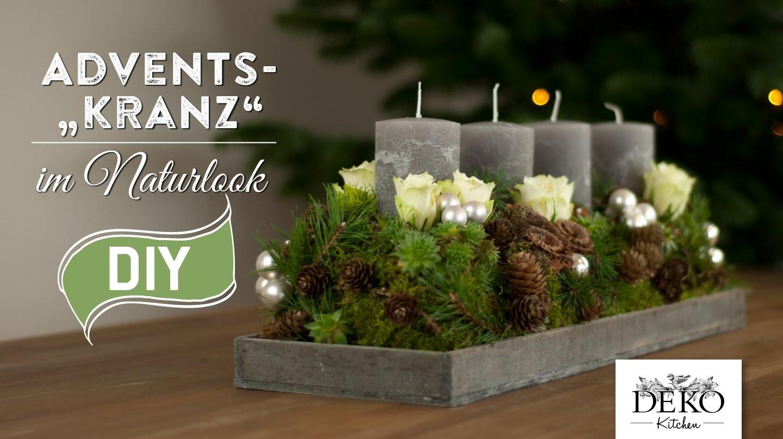 Weihnachtsdeko basteln adventskranz im naturlook how to deko kitchen - Stylische weihnachtsdeko ...
