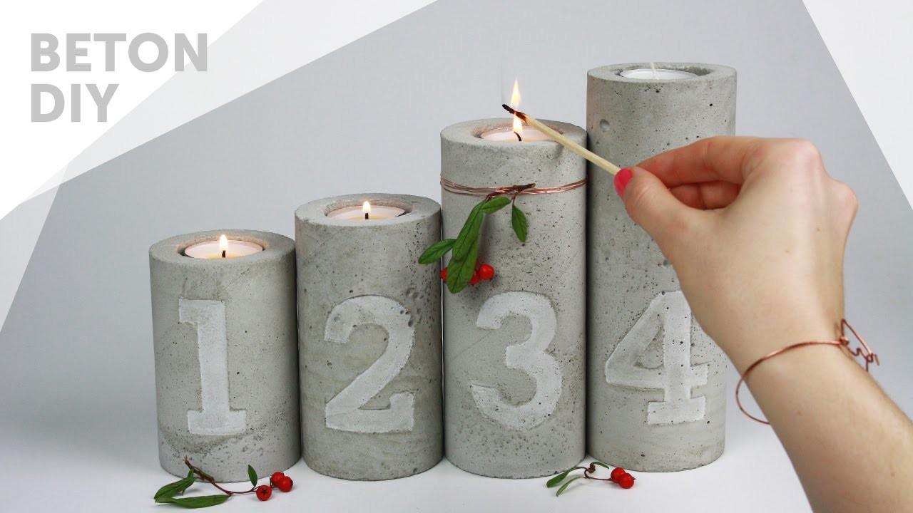 DIY.Beton Adventskranz | Kerzenständer mit Zahlen Prägung | concrete candle holders with embossing