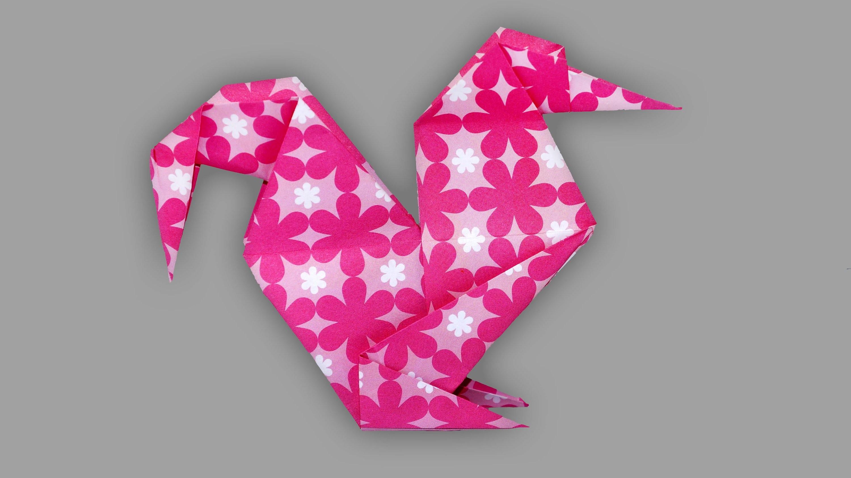 Origami Hahn: Gockel aus Papier - Faltanleitung (Live erklärt)