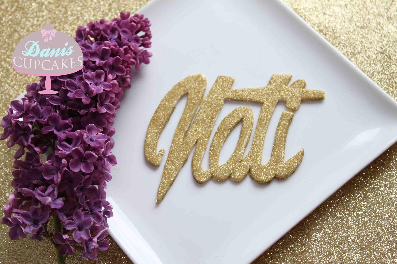 Fondant Hologram Gold Glitzer Logo erstellen für Natmakeup1 | Danis Cupcakes