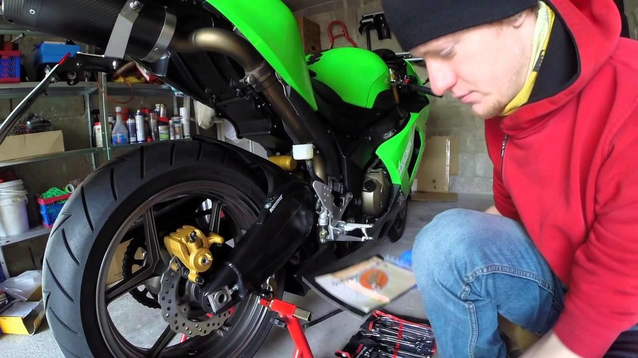 Motorrad Kawasaki ZX636C Melvin Stahlflex Bremsleitung HINTEN DIY HowTo Tutorial
