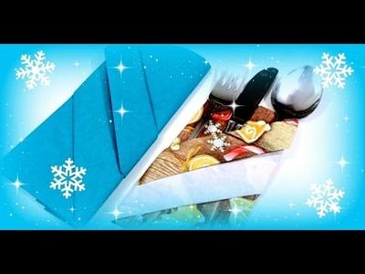 Servietten falten ♥ Tischdeko Weihnachten ♥ DIY Inspiration ♥ Serviettentasche selber machen