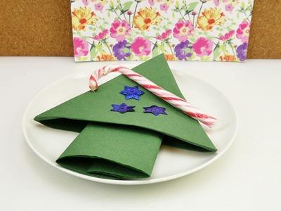 Servietten falten für Weihnachten | Schneller Weihnachtsbaum einfach | Tischdeko für die Feiertage