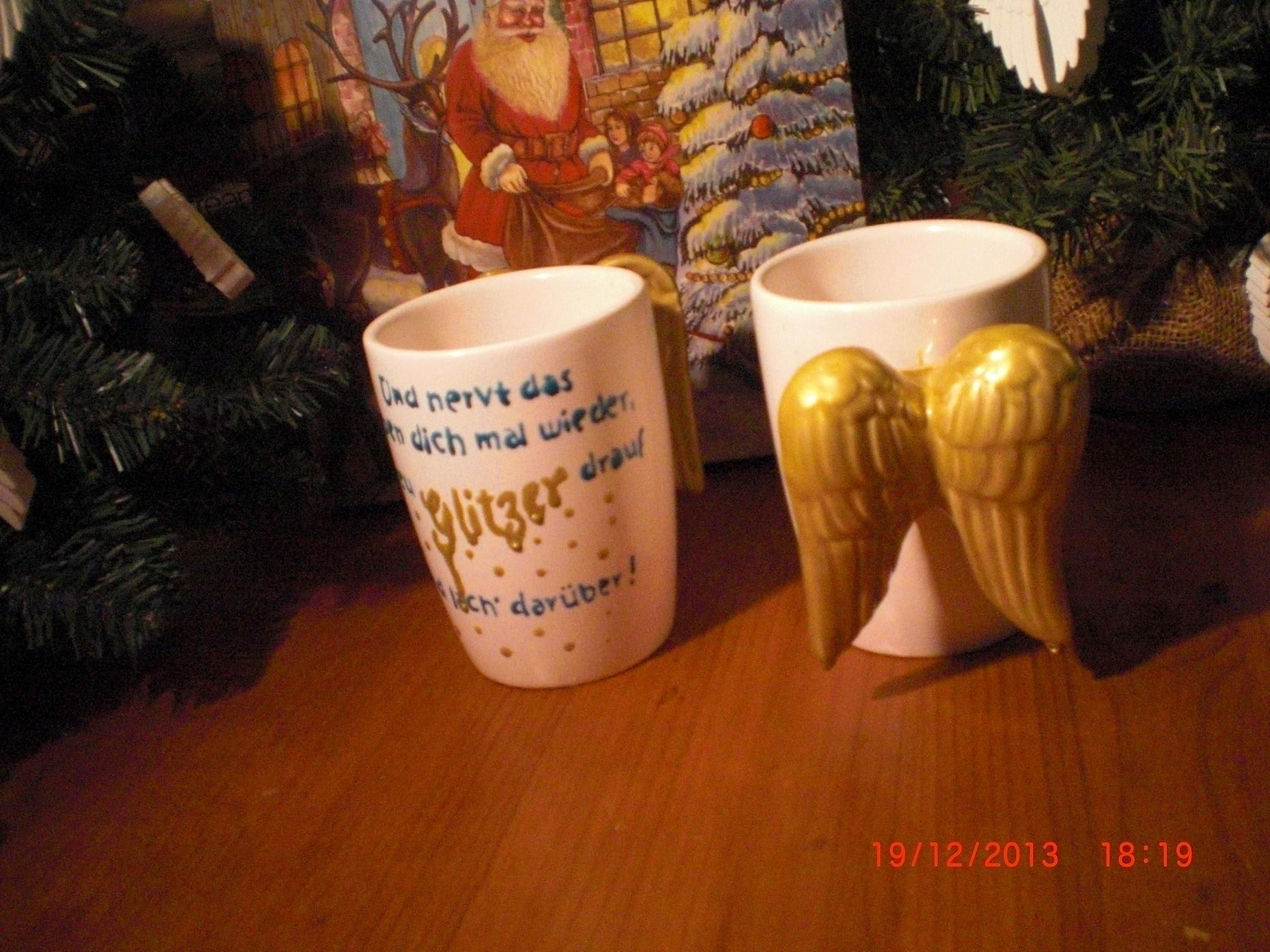 DIY - Anleitung - Weihnachtsgeschenk - Tassen bemalen - Porzellanmalerei