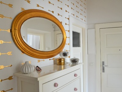 DIY goldene Pfeil Wandsticker - Fake Wallpaper Look