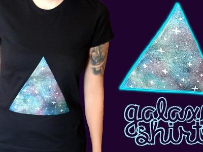 Galaxy Shirt - DIY Upcycling. Refashioning. Textildesign - T-Shirt im Galaxie Design