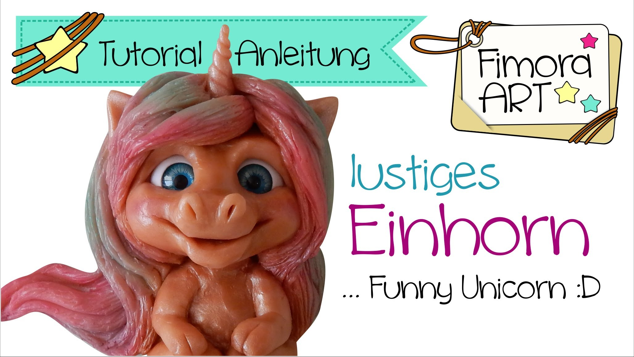[Fimo- Polymer Clay Tutorial. KoOp Craft] .   Lustiges Einhorn . . Fimora Art