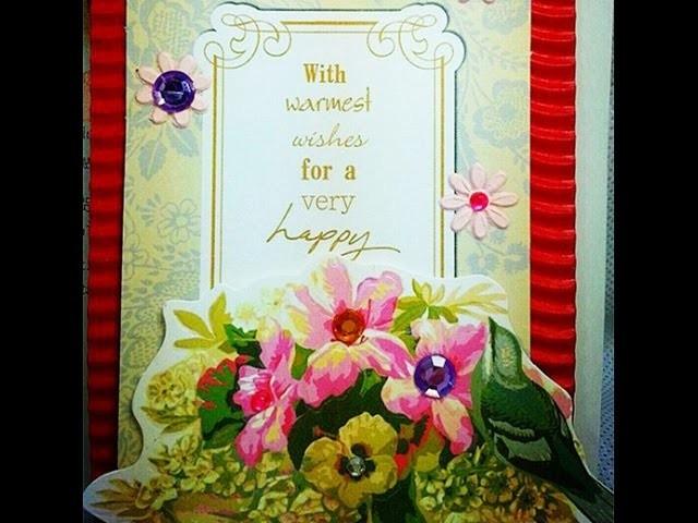 【DIY Karte】Perlen-Blumen Geburtstagskarten 00698+de