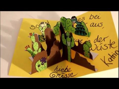 DIY: Pop Up Karte ♥Dankeskarte♥ basteln *auch für Kinder*. Kaktus Schlange Wüste