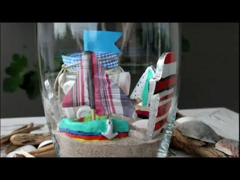 DIY: Vase maritim (maritime vase) Leuchtturm (Lighthouse), Anker (anchor) aus Ton (out of clay)