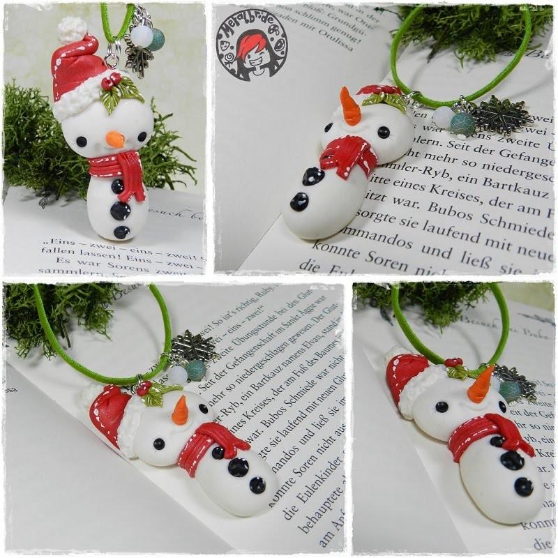 Let´s knet - Polymer Clay.Fimo Tutorial Kawaii Snowman decoration