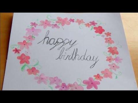 DIY Geburtstagskarte:  Wasserfarbe und Kalligrafie