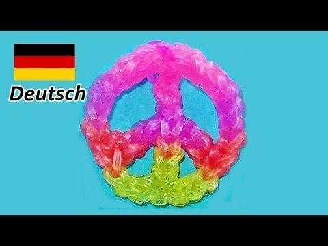 Loom Bandz (Deutsch Anleitung) Rainbow Loom Deutsch Frieden.  Loom Bands Peace