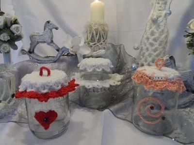 DIY:keka Geschenkverpackung im Marmeladenglas-DEKO GLAS- , Deckel häkeln-UPSYCLING