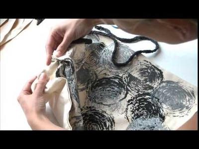 DIY: Festival Rucksack - Hippie Backpack mit Rosendruck - aus Jutebeutel