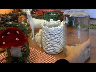 DIY:keka ein Pilz Windlicht häkeln,im Grundmuster2-Upsycling Marmeladenglas