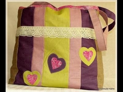 Käthes Nähstunde  DIY Tasche. Shopper Nähen für Anfänger
