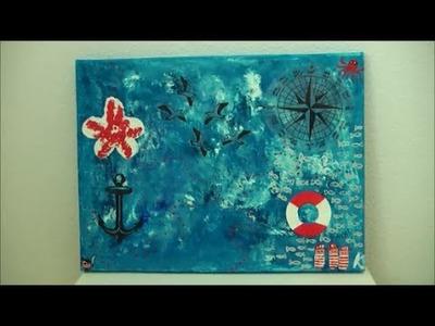 DIY: Maritimes Acrylbild malen (blau.weiss) Maritime Deko Windrose, Matrosen, Möwen, Meer, Fische