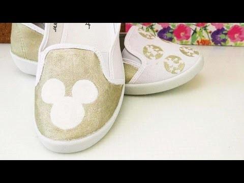 DIY Schuhe Mickey Mouse   Schuhe bemalen mit Goldfarbe   2 Disney  Motive
