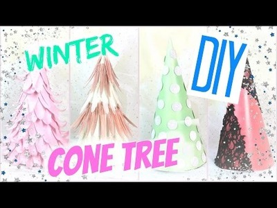 DIY Winter Room Decor Cone Tree #WinterCafe