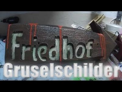 Halloween DIY: Friedhof Schild Graveyard Sign