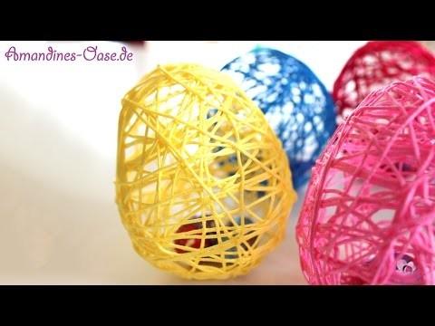 Ostereier aus Wolle mit Hilfe von Luftballons | DIY Dekoration und Geschenkidee
