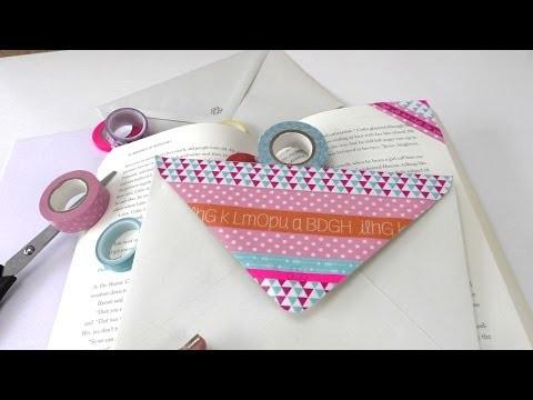 Washitape Lesezeichen und Briefumschlag - 2 DIY Ideen - Deko Bookmark - einfach und schnell