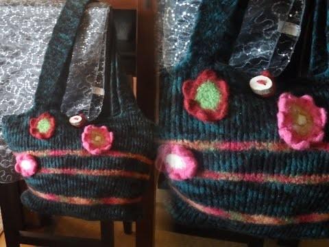 DIY: keka große TASCHE stricken+FILZEN;aber auch für normale Wolle,Anleitung Part 4