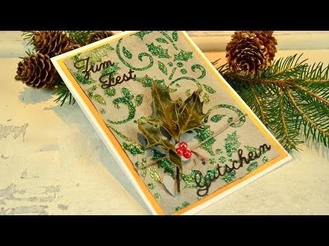 DIY Moderne Weihnachtskarte mal anders: mit Beton-Effekt und Glitter