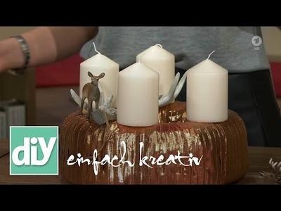 Adventskranz mit Metallic-Bändern | DIY einfach kreativ