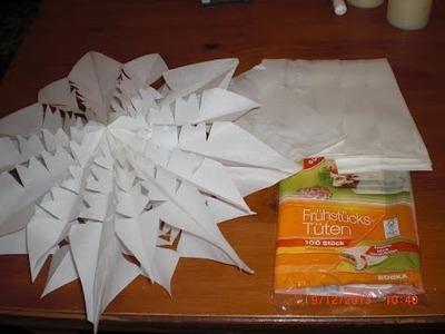 DIY - Anleitung - schneller, einfacher Weihnachtsstern aus Papiertüten Brottüten