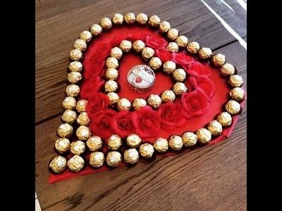 DIY Ferrero Rocher Herzplatte zum selber basteln. Für besondere Anlässe wie Valentinstag.Muttertag