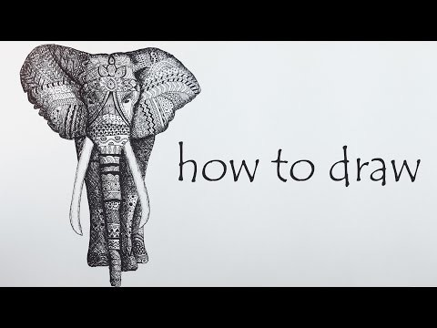 DIY Tutorial ♥ ELEPHANT Speed Drawing ♥ Black & White  Mandala Zentangle