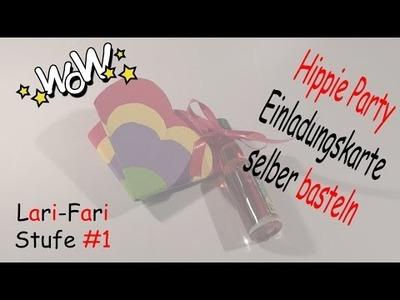 Hippie Party Einladungskarte selber basteln - DIY - Einladung aus Papierblume