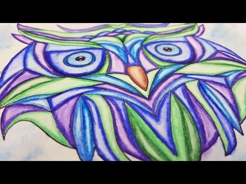 DIY Tutorial ♥ OWL | Eule ♥  how to draw with ✎ watercolor pencils | Aquarellstifte ✎