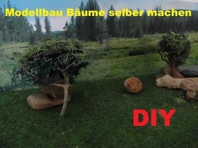 DIY Realistische Modellbau Bäume selber herstellen. Modelleisenbahn Geländebau  Baum bauen. machen