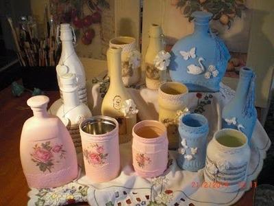 DIY - Flaschen Deko in Shabby oder Vintage