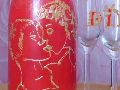 DIY Valentinstag Flasche mit  Acryl- und  Fenstermalfarben bemalen. Anleitung. Decoidee