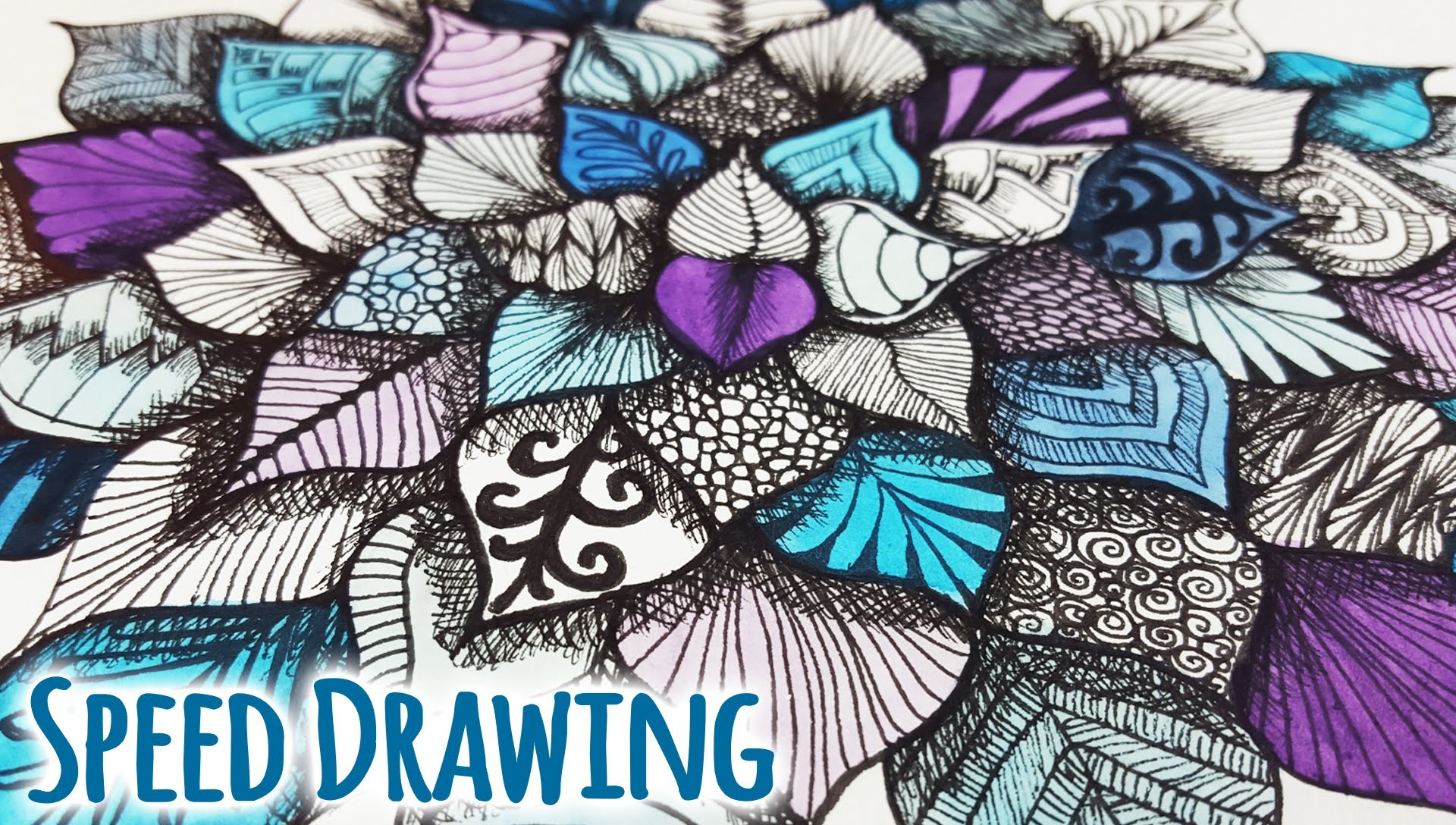 Speed Drawing ♠ Zentangle Leaves | Blätter ♠ DIY Tutorial | Colorful