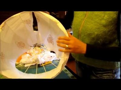 Lampenschirm Hängelampe neu beziehen DIY
