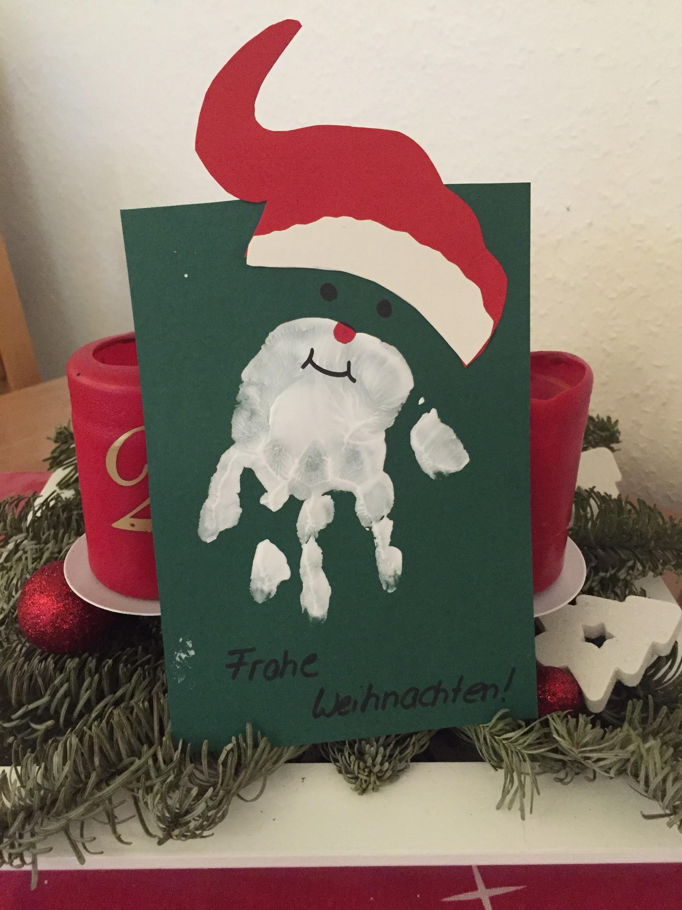 Weihnachtskarten mit Handabdruck.DIY