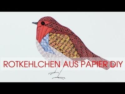 Rotkehlchen aus Papier basteln DIY Iris Falttechnik
