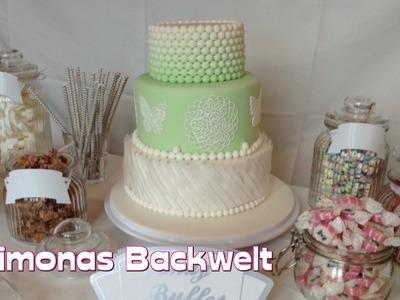 Hochzeitstorte Mintgrün Teil 6: Torte mit Esspapier Wafer Paper, essbarer Spitze und Fondant Perlen