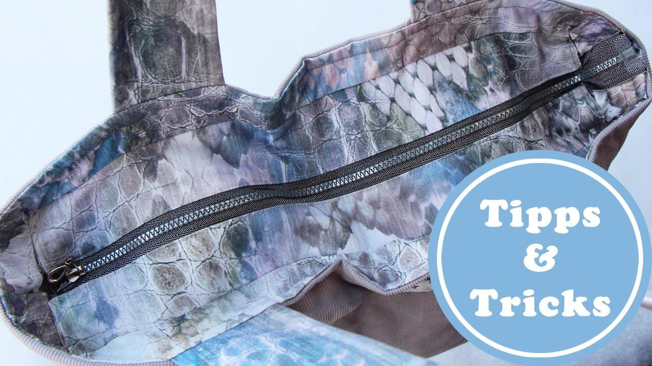 Reissverschluss in eine Tasche nähen | DIY | sicher verschlossen