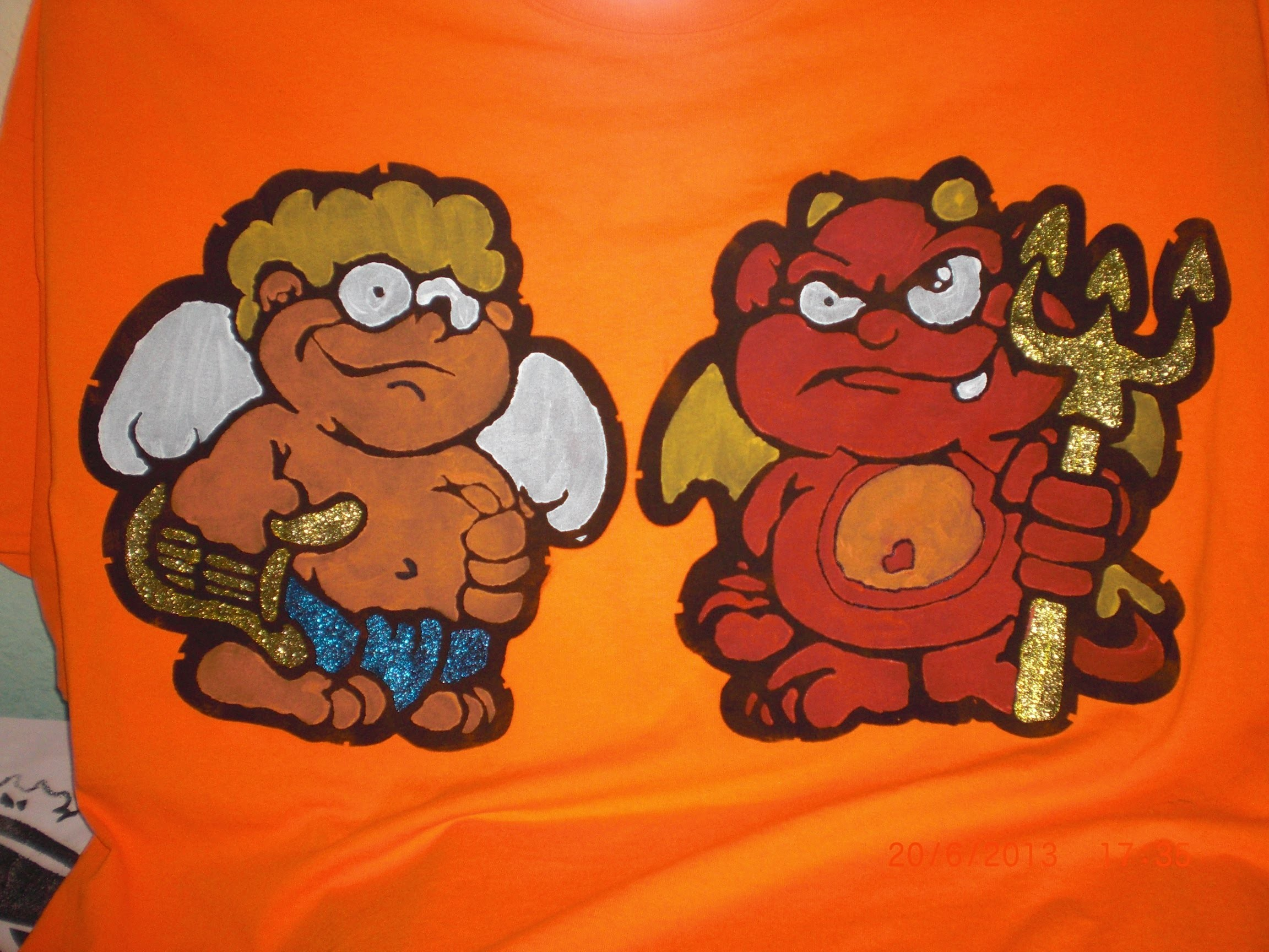 DIY - T-Shirt bemalen - Engel und Teufel - Deka Farben