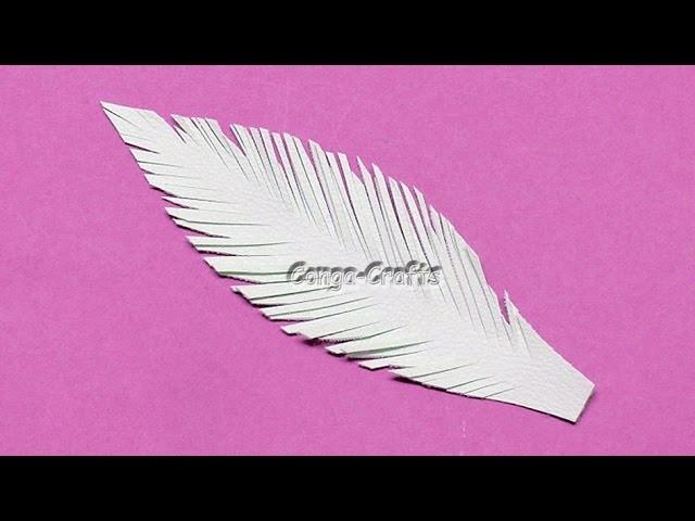 Feder aus Kunstleder. feather from faux leather DIY