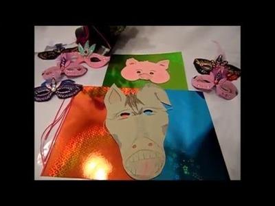 DIY:keka11.MASKE+ DEKO  Esel und Schweinchen basteln,Fasching,Wand +Party Deko,Bühne,für Groß+ Klein