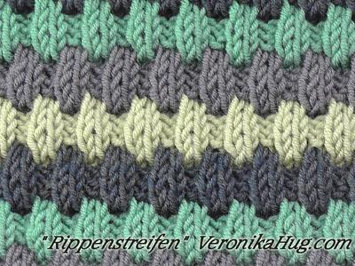 Stricken - Hebemaschenmuster - Rippenstreifen - Veronika Hug