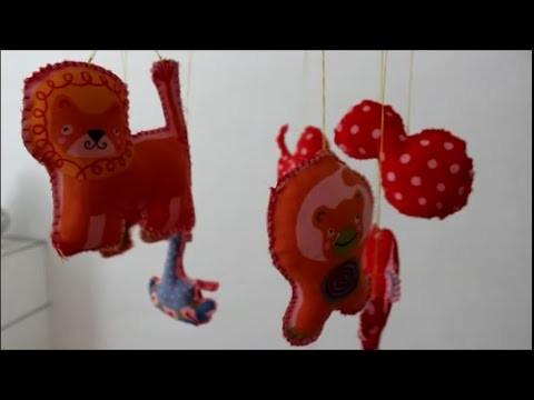 DIY: Mobile ♥ Mobilé mit Stofftieren basteln ♥ Schlingenstich ♥ Nähen für Anfänger